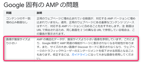 Google固有のAMPの問題 画像が推奨サイズより小さい