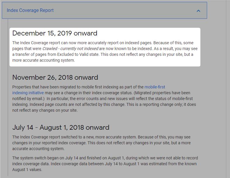 Google Search Consoleのガバレッジに2019年12月15日付けで追加されたイベント情報の詳細