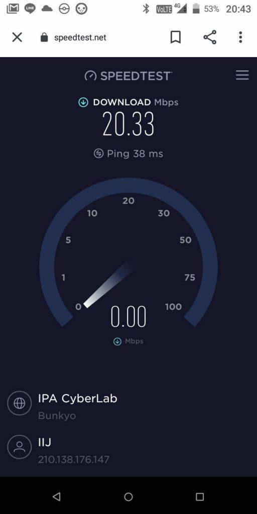BIC SIM スピードテスト結果
