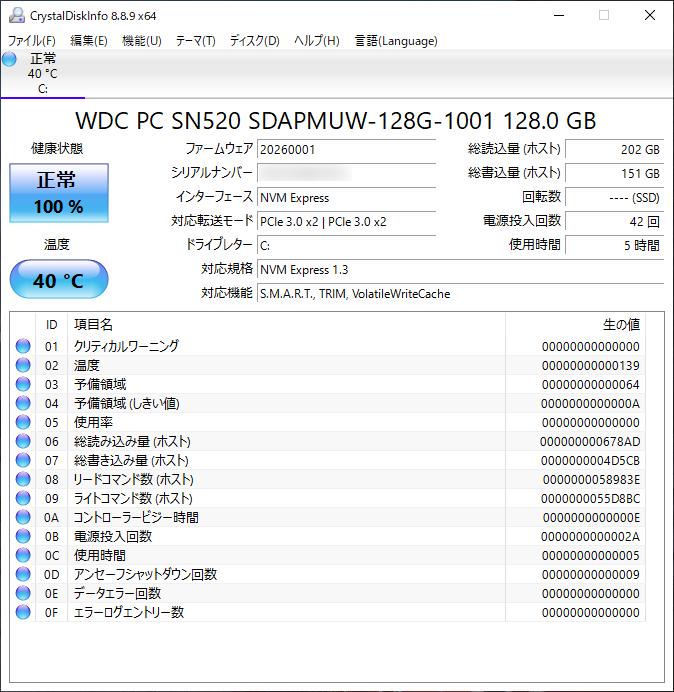 ThinkPad E495 初期状態 CrystalDiskInfo実行画面