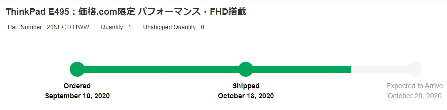 ThinkPad E495 最終的な納期予定