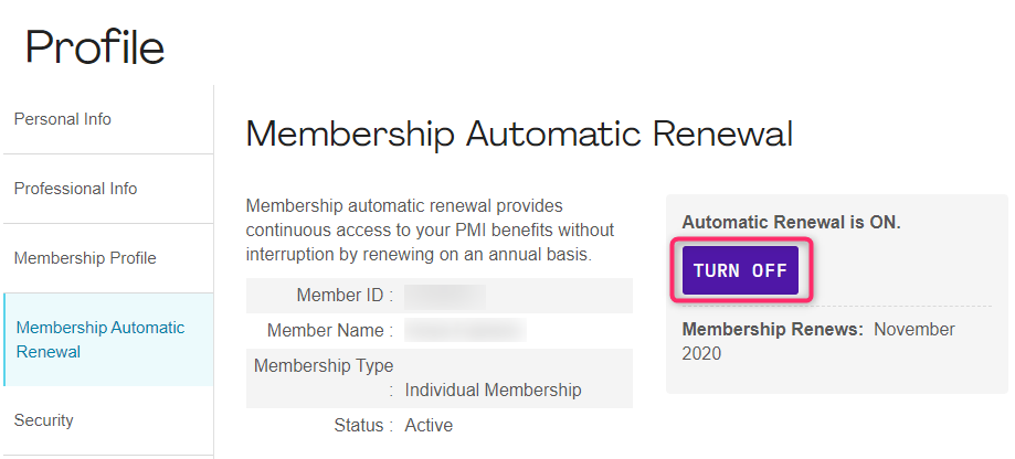 PMI Membership Automatic Renewal Setting