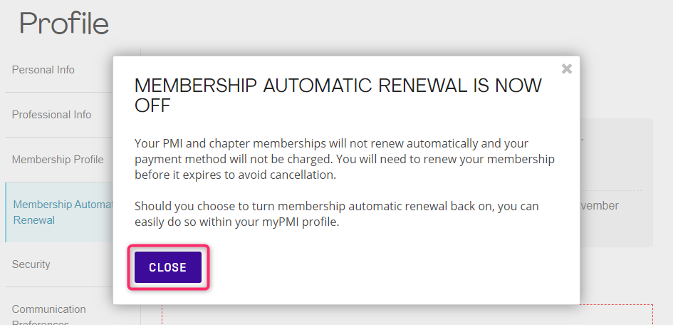 PMI Membership Automatic Renewal Turn Off