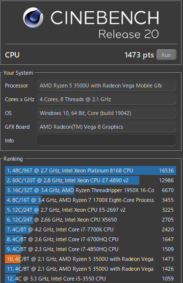 ThinkPad E495 メモリ&SSD換装後 CINEBENCH結果